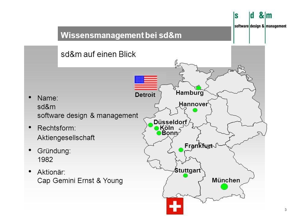 3 sd&m auf einen Blick Detroit München Frankfurt Hamburg Stuttgart Hannover Düsseldorf Köln Bonn Name: sd&m software design & management Rechtsform: A