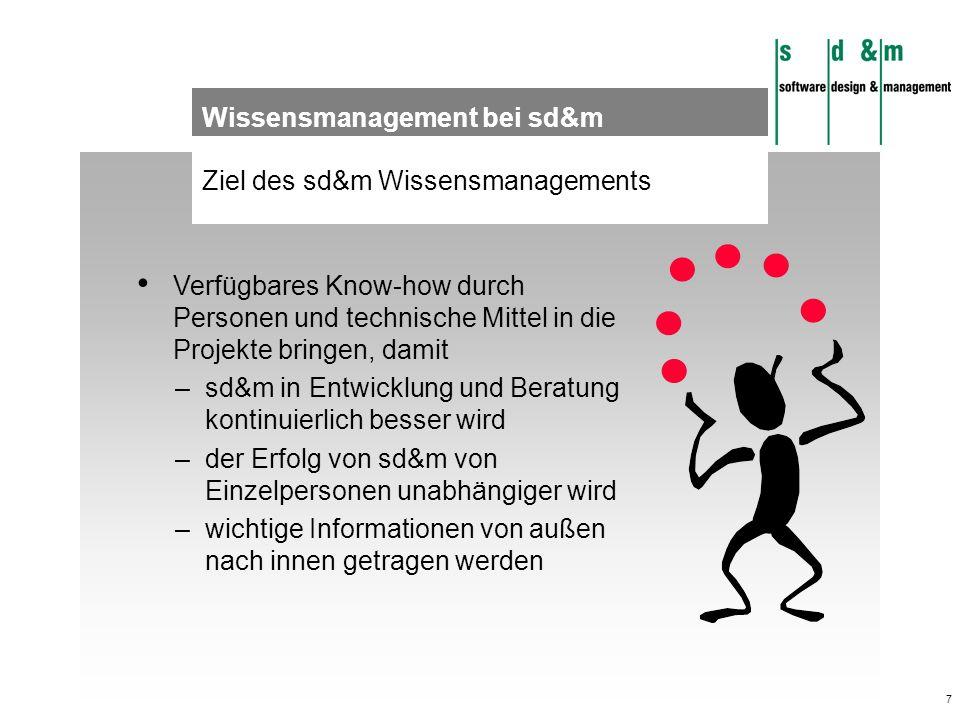7 Ziel des sd&m Wissensmanagements Wissensmanagement bei sd&m Verfügbares Know-how durch Personen und technische Mittel in die Projekte bringen, damit