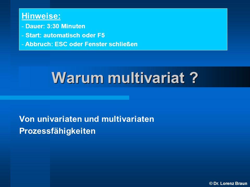 © Dr. Lorenz Braun Warum multivariat ? Von univariaten und multivariaten Prozessfähigkeiten Hinweise: - Dauer: 3:30 Minuten - Start: automatisch oder