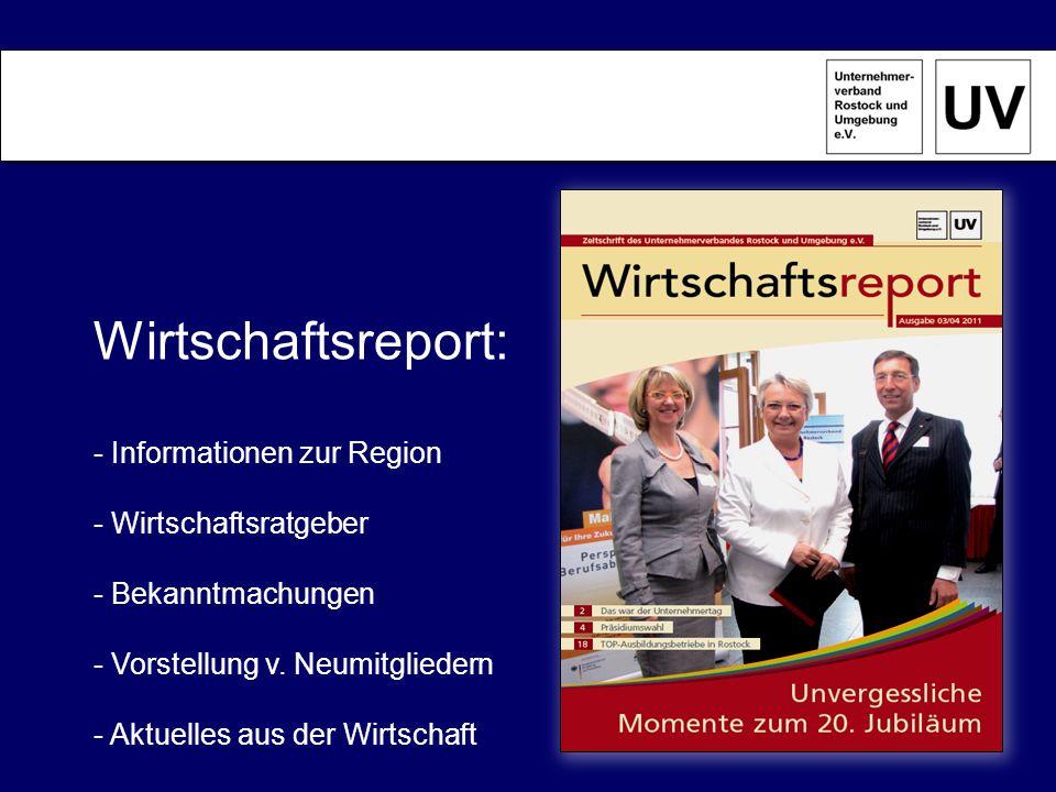 Aufgaben des UV-Rostock: …wir vertreten die Interessen des Mittelstandes gegenüber Wirtschaft und Politik …wir arbeiten branchenoffen, parteipolitisch unabhängig und tariflich ungebunden …wir realisieren themenbezogene Sacharbeit über Arbeitskreise des Verbands