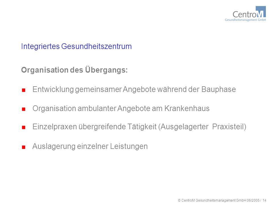 © CentroM Gesundheitsmanagement GmbH 06/2005 / 15 Integriertes Gesundheitszentrum Künftige Versorgungsstruktur: Regionale Verteilung Organisation
