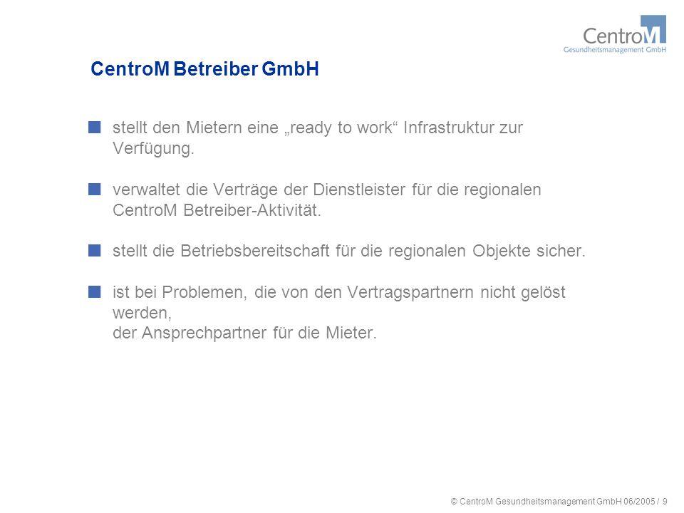 © CentroM Gesundheitsmanagement GmbH 06/2005 / 10 Analyse des Ausstattungsbedarfs für ambulante und stationäre Diagnostik und Therapie Integriertes Gesundheitszentrum Festlegung gemeinsamer Angebote und Einrichtungen (z.B.