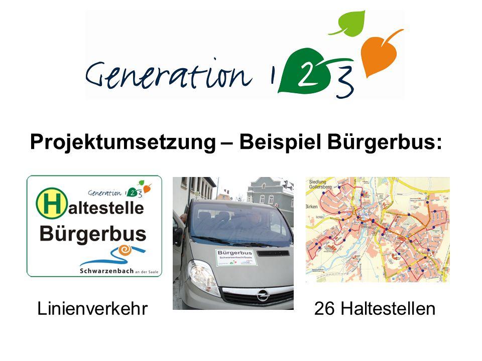 Projektumsetzung – Beispiel Bürgerbus: Linienverkehr26 Haltestellen