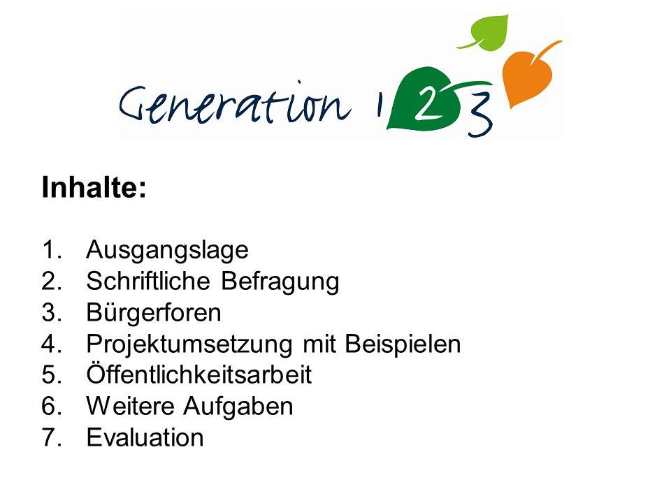 Inhalte: 1.Ausgangslage 2.Schriftliche Befragung 3.Bürgerforen 4.Projektumsetzung mit Beispielen 5.Öffentlichkeitsarbeit 6.Weitere Aufgaben 7.Evaluation