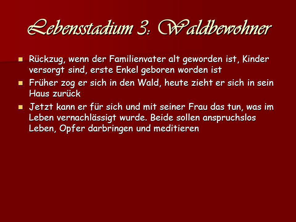 Lebensstadium 3: Waldbewohner Rückzug, wenn der Familienvater alt geworden ist, Kinder versorgt sind, erste Enkel geboren worden ist Rückzug, wenn der