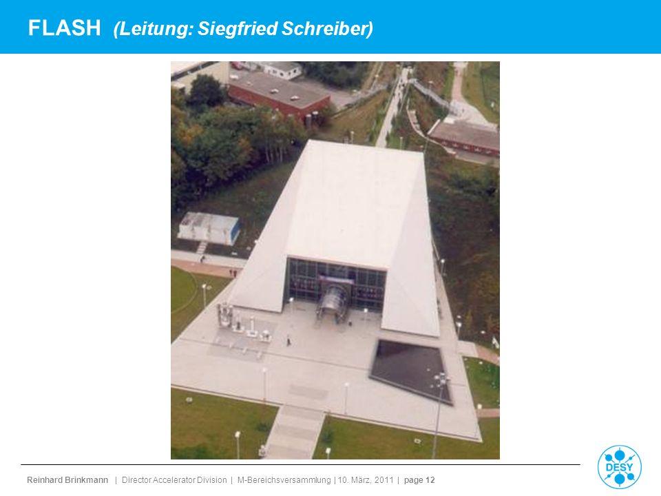 Reinhard Brinkmann | Director Accelerator Division | M-Bereichsversammlung | 10. März, 2011 | page 12 FLASH (Leitung: Siegfried Schreiber)