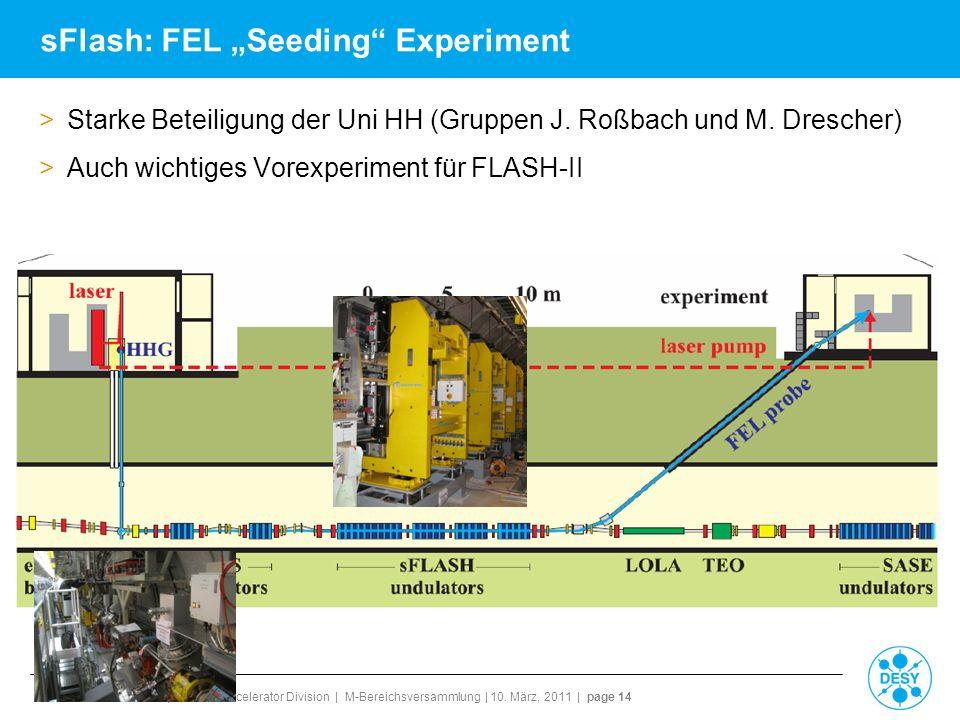 Reinhard Brinkmann | Director Accelerator Division | M-Bereichsversammlung | 10. März, 2011 | page 14 sFlash: FEL Seeding Experiment >Starke Beteiligu