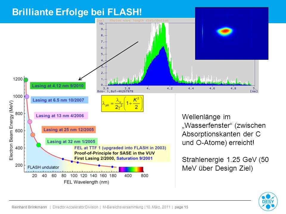 Reinhard Brinkmann | Director Accelerator Division | M-Bereichsversammlung | 10. März, 2011 | page 15 Brilliante Erfolge bei FLASH! Wellenlänge im Was