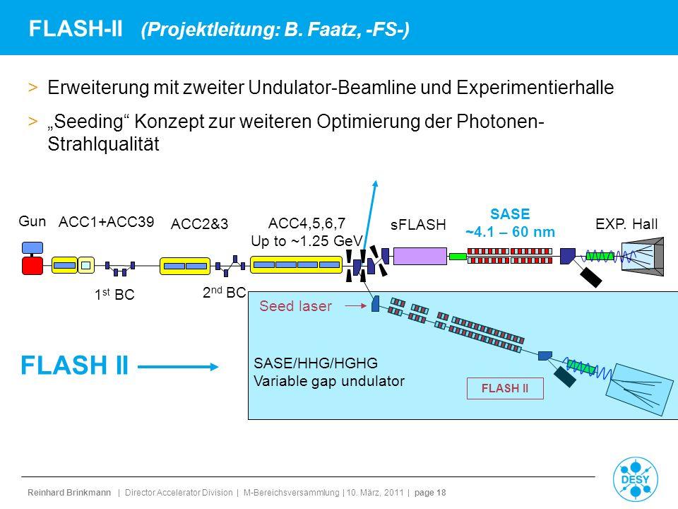 Reinhard Brinkmann | Director Accelerator Division | M-Bereichsversammlung | 10. März, 2011 | page 18 FLASH-II (Projektleitung: B. Faatz, -FS-) >Erwei