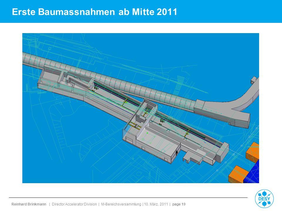 Reinhard Brinkmann | Director Accelerator Division | M-Bereichsversammlung | 10. März, 2011 | page 19 Erste Baumassnahmen ab Mitte 2011