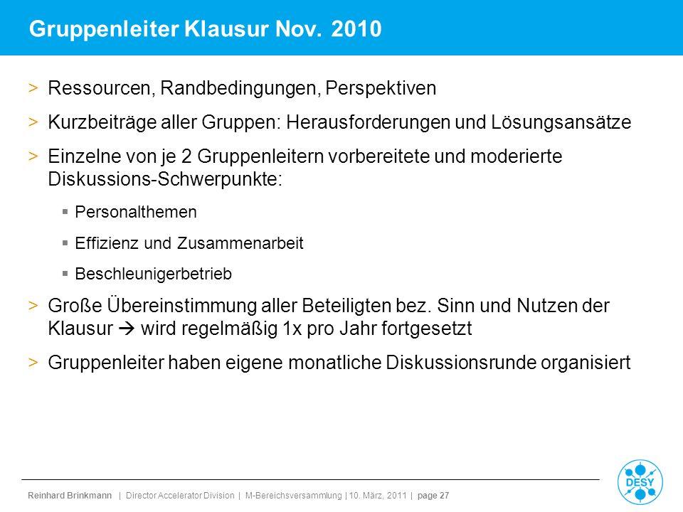 Reinhard Brinkmann | Director Accelerator Division | M-Bereichsversammlung | 10. März, 2011 | page 27 Gruppenleiter Klausur Nov. 2010 >Ressourcen, Ran