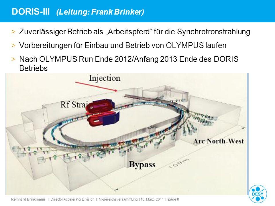 Reinhard Brinkmann | Director Accelerator Division | M-Bereichsversammlung | 10. März, 2011 | page 8 DORIS-III (Leitung: Frank Brinker) >Zuverlässiger