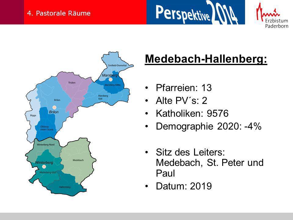 4. Pastorale Räume Medebach-Hallenberg: Pfarreien: 13 Alte PV´s: 2 Katholiken: 9576 Demographie 2020: -4% Sitz des Leiters: Medebach, St. Peter und Pa
