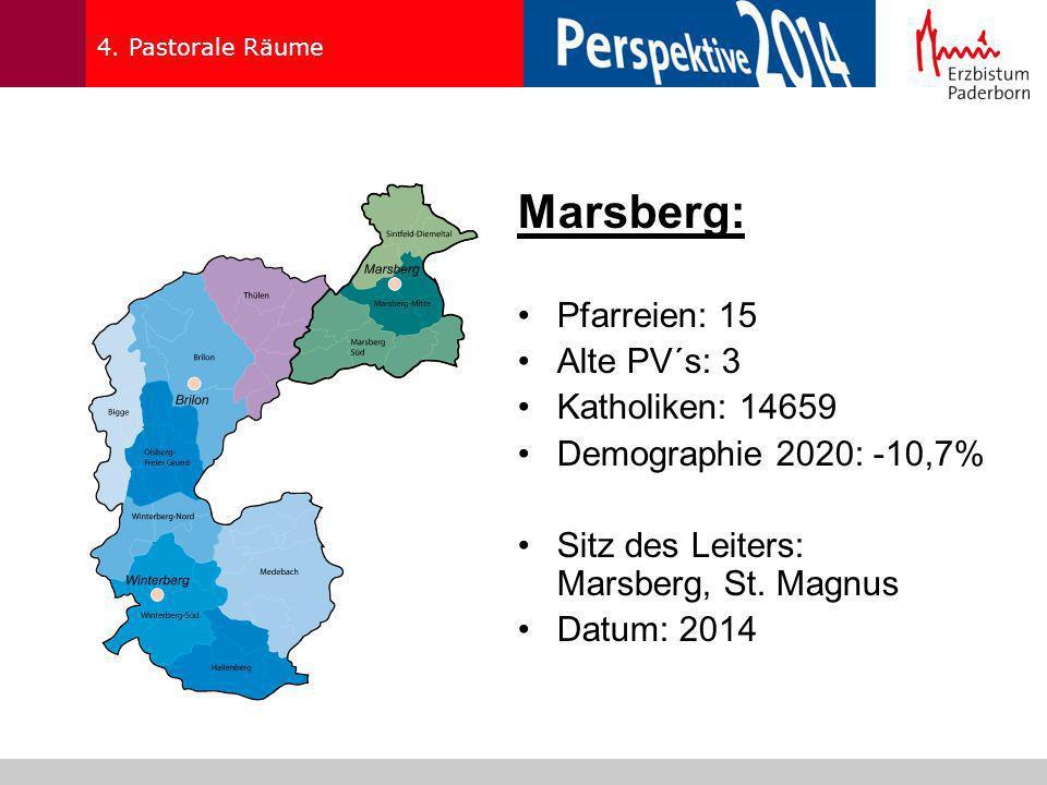 4. Pastorale Räume Marsberg: Pfarreien: 15 Alte PV´s: 3 Katholiken: 14659 Demographie 2020: -10,7% Sitz des Leiters: Marsberg, St. Magnus Datum: 2014