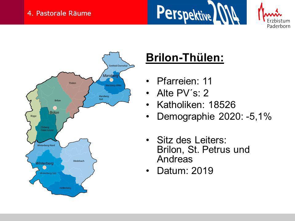 4. Pastorale Räume Brilon-Thülen: Pfarreien: 11 Alte PV´s: 2 Katholiken: 18526 Demographie 2020: -5,1% Sitz des Leiters: Brilon, St. Petrus und Andrea