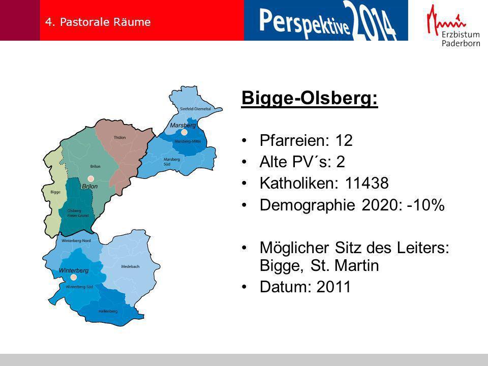4. Pastorale Räume Bigge-Olsberg: Pfarreien: 12 Alte PV´s: 2 Katholiken: 11438 Demographie 2020: -10% Möglicher Sitz des Leiters: Bigge, St. Martin Da