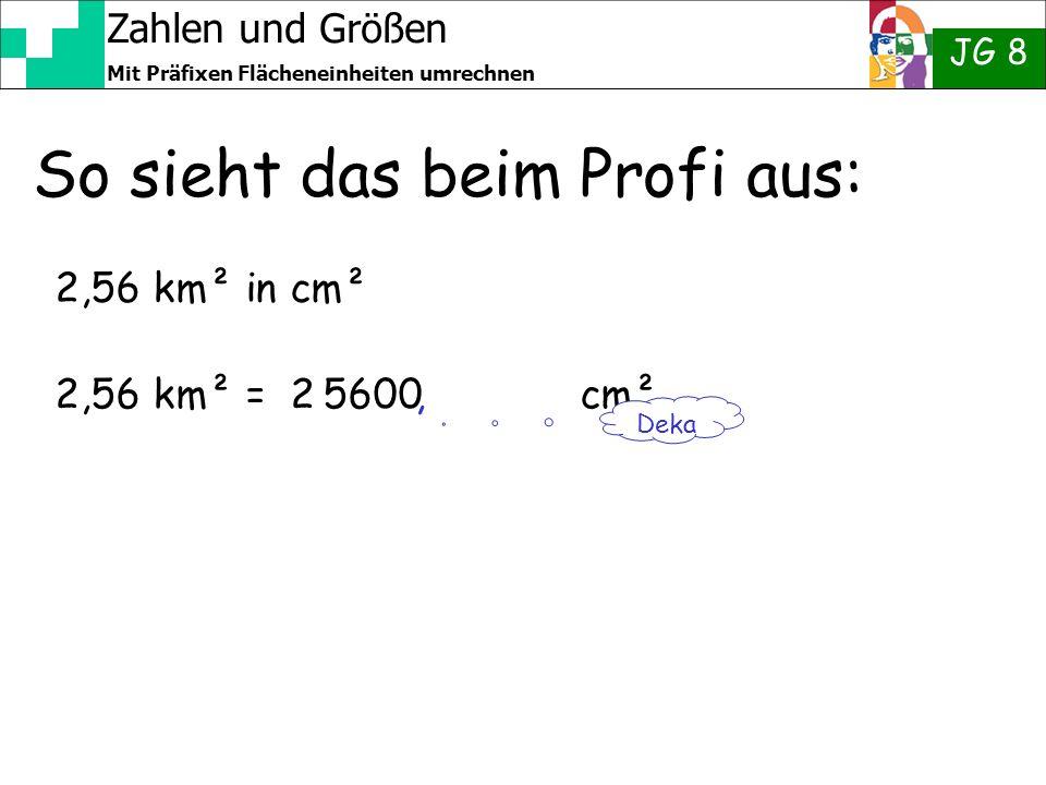 Zahlen und Größen JG 8 Mit Präfixen Flächeneinheiten umrechnen So sieht das beim Profi aus: 2,56 km² in cm² 2,56 km² = 2 5600 cm² Deka,