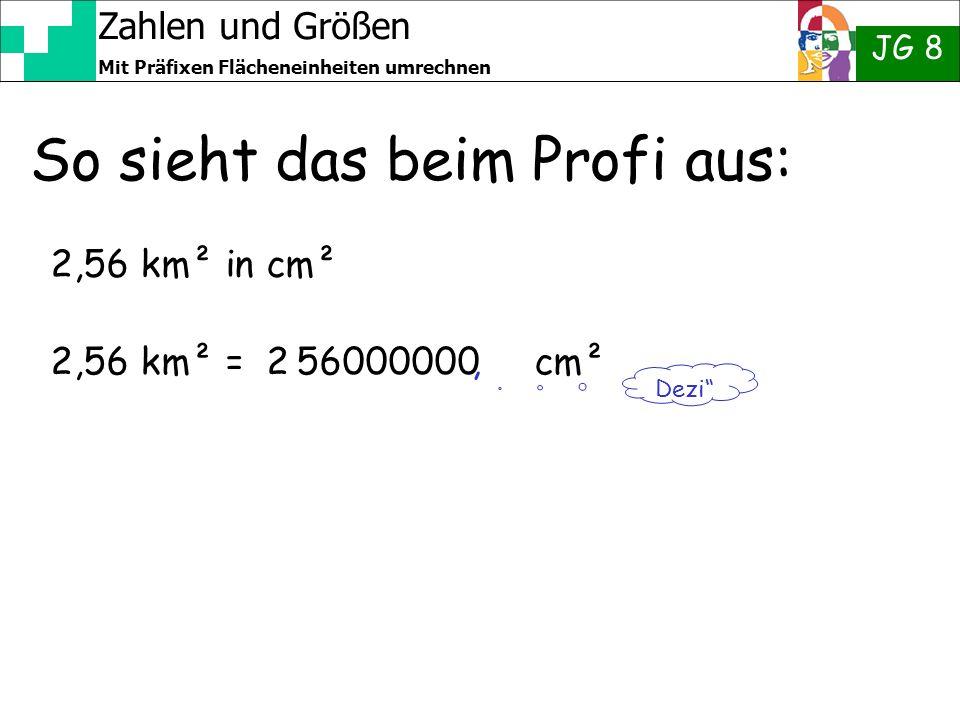 Zahlen und Größen JG 8 Mit Präfixen Flächeneinheiten umrechnen So sieht das beim Profi aus: 2,56 km² in cm² 2,56 km² = 2 56000000 cm² Dezi,