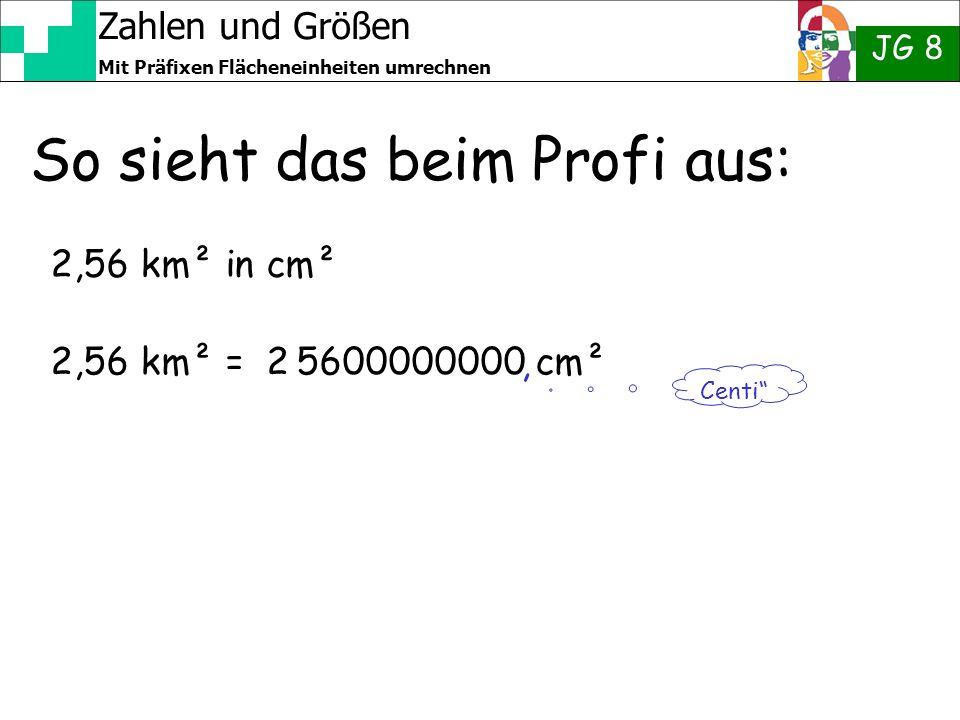 Zahlen und Größen JG 8 Mit Präfixen Flächeneinheiten umrechnen So sieht das beim Profi aus: 2,56 km² in cm² 2,56 km² = 2 5600000000 cm² Centi,