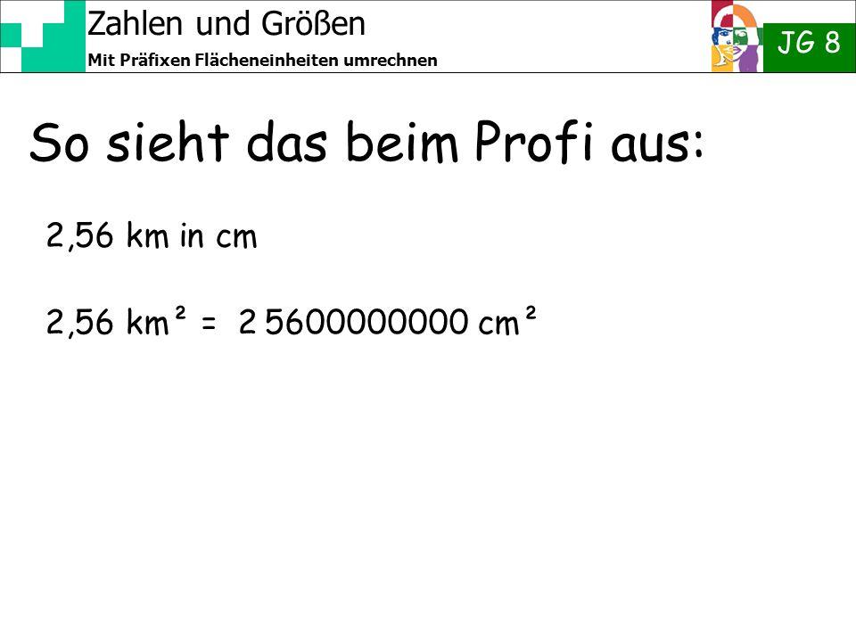 Zahlen und Größen JG 8 Mit Präfixen Flächeneinheiten umrechnen So sieht das beim Profi aus: 2,56 km in cm 2,56 km² = 2 5600000000 cm²