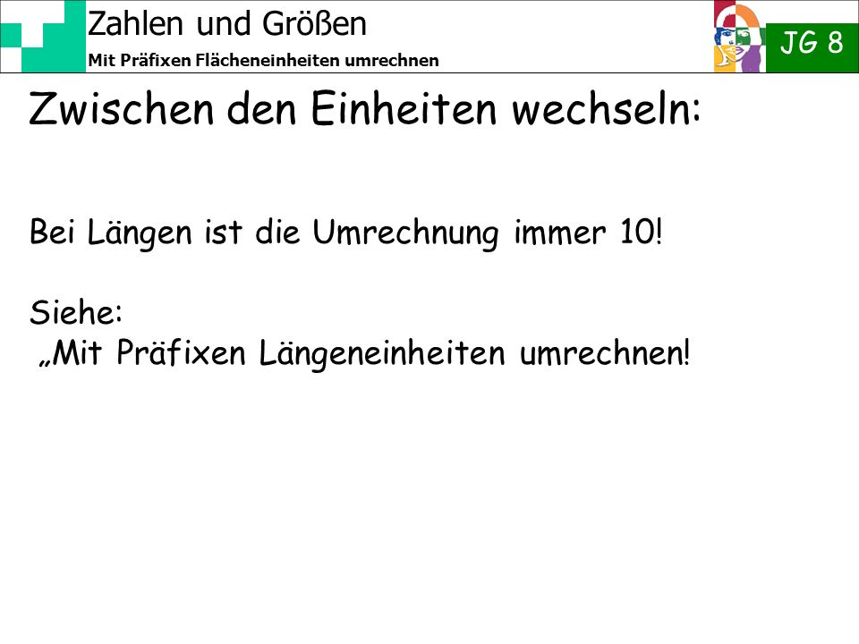 Zahlen und Größen JG 8 Mit Präfixen Flächeneinheiten umrechnen 2 Zur Erinnerung Kilo..Hekto..Deka..Grund- einheit Dezi..Centi..Milli..