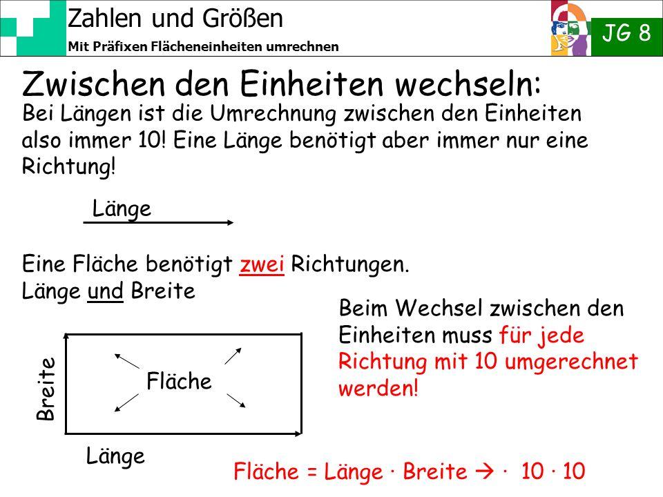 Zahlen und Größen JG 8 Mit Präfixen Flächeneinheiten umrechnen Zwischen den Einheiten wechseln: Bei Längen ist die Umrechnung zwischen den Einheiten a