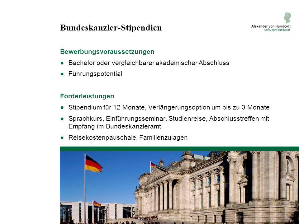 Bundeskanzler-Stipendien Bewerbungsvoraussetzungen Bachelor oder vergleichbarer akademischer Abschluss Führungspotential Förderleistungen Stipendium f