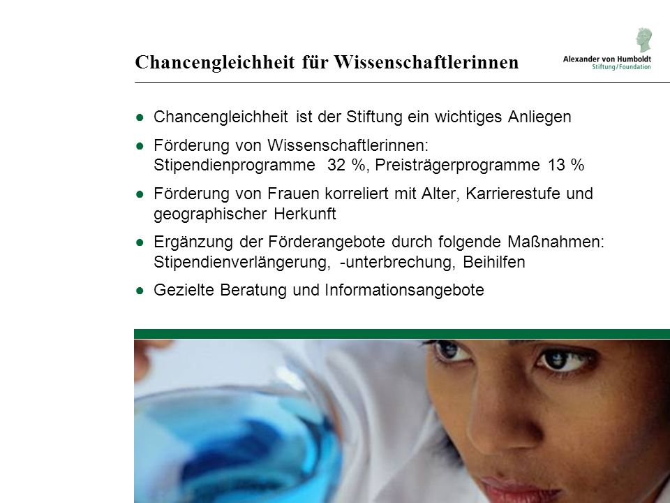 Chancengleichheit für Wissenschaftlerinnen Chancengleichheit ist der Stiftung ein wichtiges Anliegen Förderung von Wissenschaftlerinnen: Stipendienpro