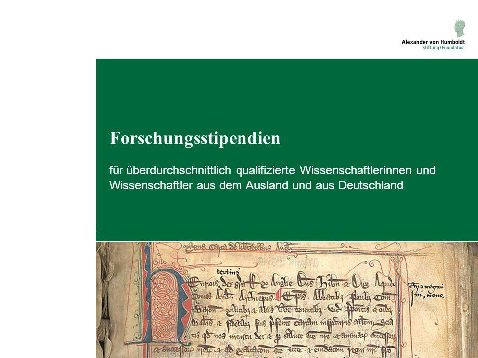 Forschungsstipendien für Aufenthalte in Deutschland für Postdoktoranden und erfahrene Wissenschaftler Humboldt-Forschungsstipendium aus allen Ländern, allen Fächern, keine Quoten Georg Forster-Forschungsstipendium aus Entwicklungs- und Schwellenländern, allen Fächern, keine Quoten Forschungsprojekt mit Entwicklungsrelevanz