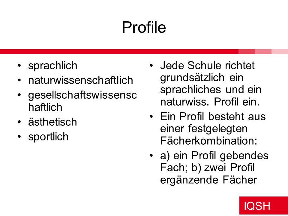 IQSH Welche 5 Fächer können Prüfungsfächer sein.
