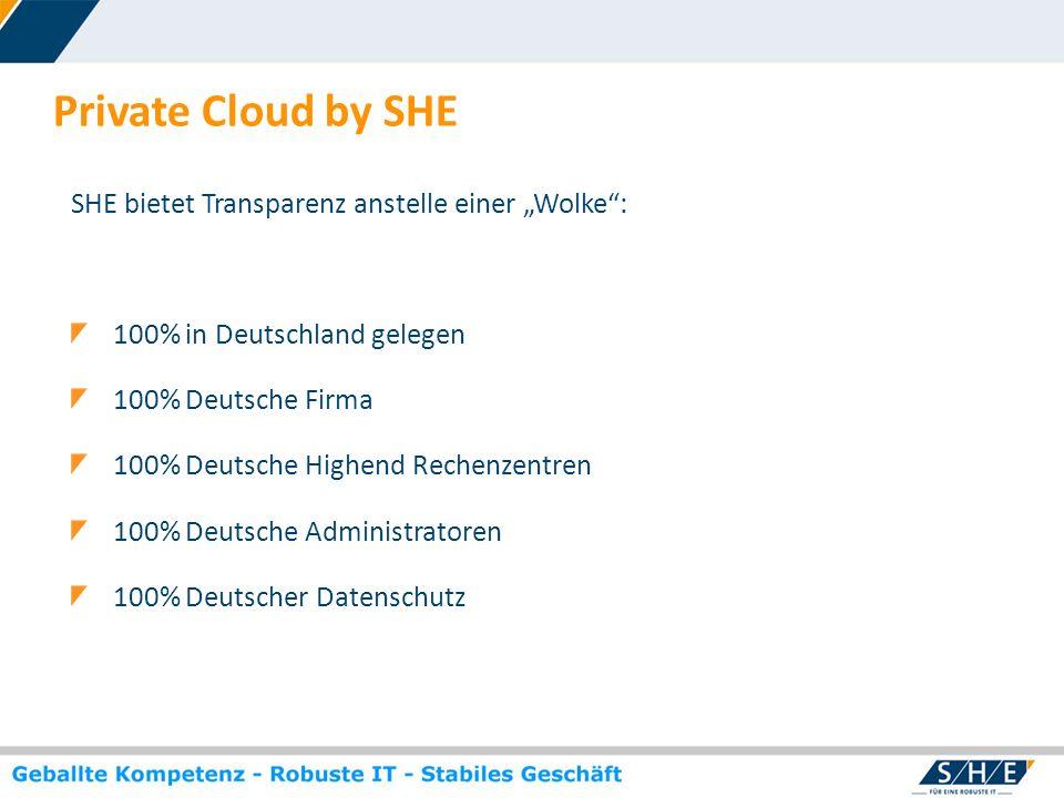 © SHE Informationstechnologie AG, 2009 www.she.net Private Cloud by SHE SHE bietet Transparenz anstelle einer Wolke: 100% in Deutschland gelegen 100%