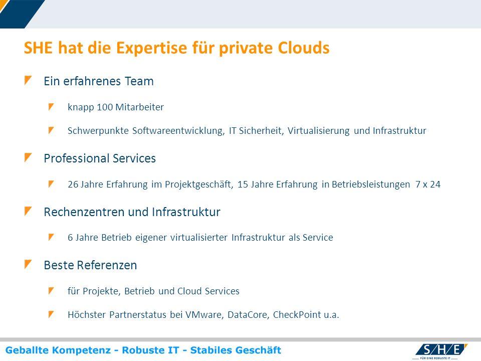 © SHE Informationstechnologie AG, 2009 www.she.net SHE hat die Expertise für private Clouds Ein erfahrenes Team knapp 100 Mitarbeiter Schwerpunkte Sof