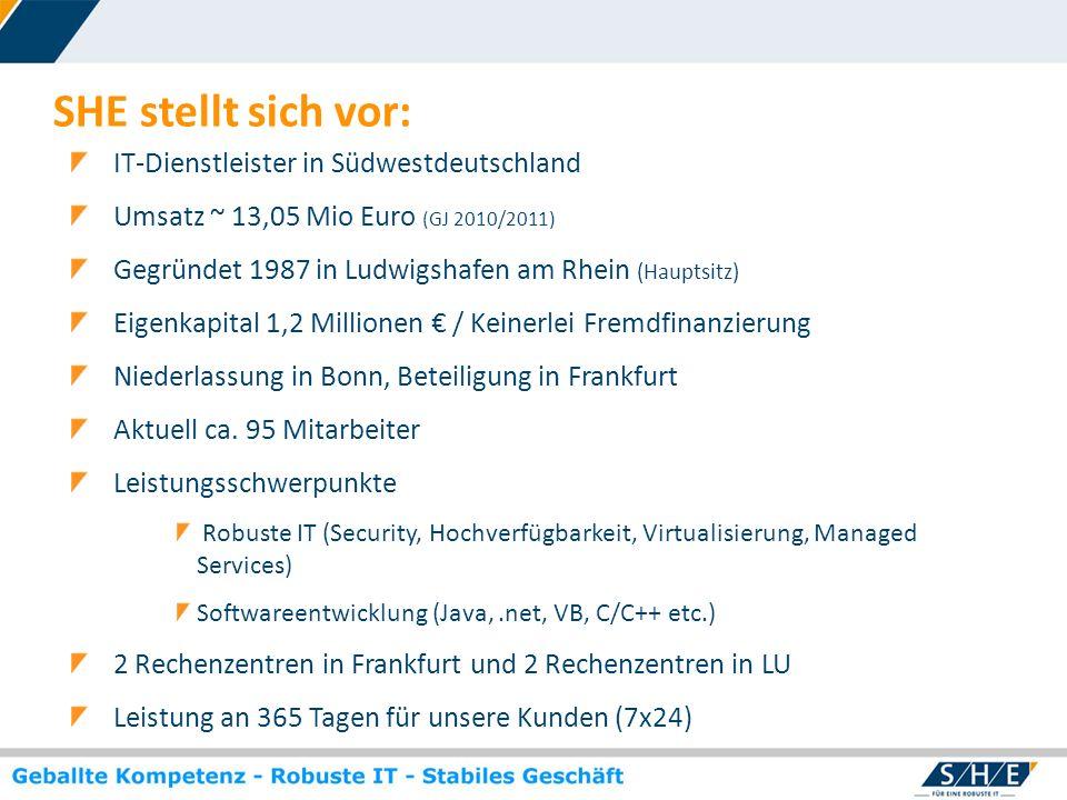 © SHE Informationstechnologie AG, 2009 www.she.net SHE stellt sich vor: IT-Dienstleister in Südwestdeutschland Umsatz ~ 13,05 Mio Euro (GJ 2010/2011)