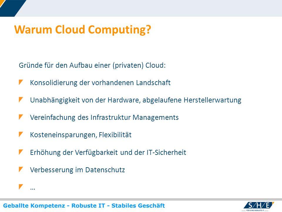 © SHE Informationstechnologie AG, 2009 www.she.net Warum Cloud Computing? Gründe für den Aufbau einer (privaten) Cloud: Konsolidierung der vorhandenen