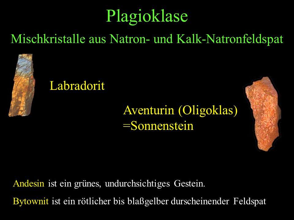 Plagioklase Mischkristalle aus Natron- und Kalk-Natronfeldspat Labradorit Andesin ist ein grünes, undurchsichtiges Gestein. Bytownit ist ein rötlicher