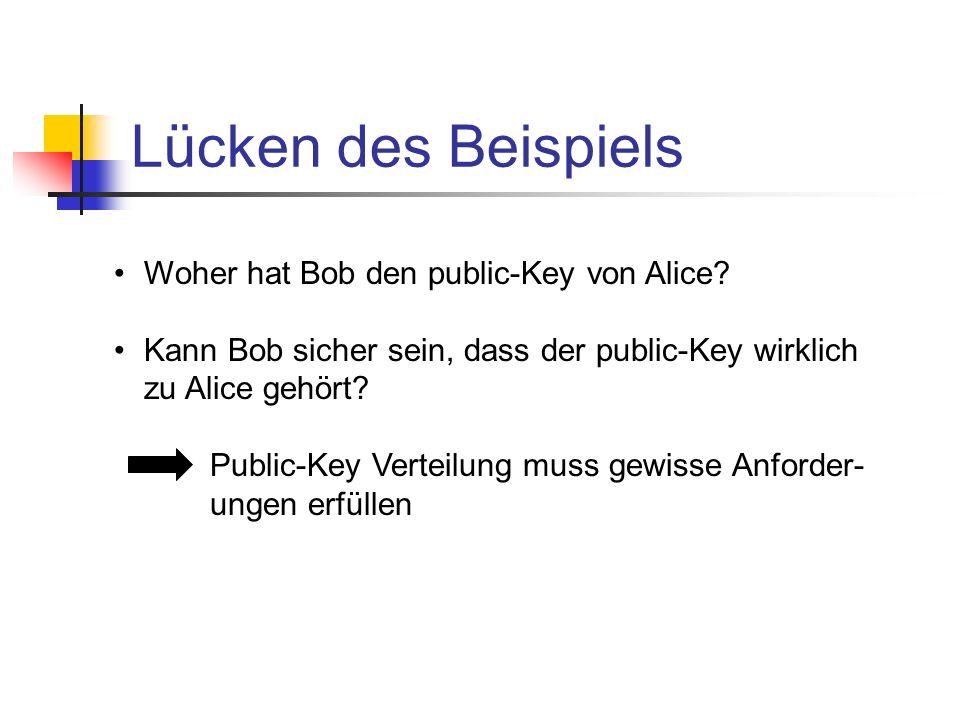 Lücken des Beispiels Woher hat Bob den public-Key von Alice? Kann Bob sicher sein, dass der public-Key wirklich zu Alice gehört? Public-Key Verteilung
