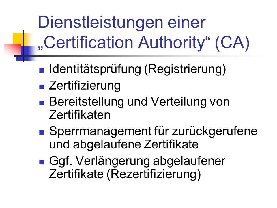 Dienstleistungen einer Certification Authority (CA) Identitätsprüfung (Registrierung) Zertifizierung Bereitstellung und Verteilung von Zertifikaten Sp
