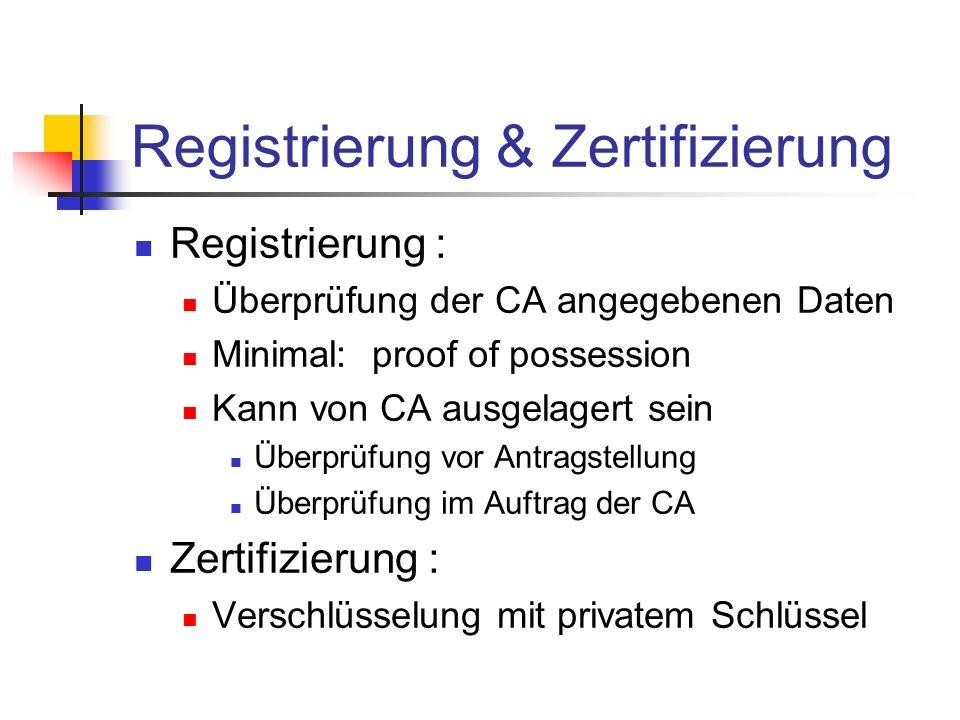 Registrierung & Zertifizierung Registrierung : Überprüfung der CA angegebenen Daten Minimal: proof of possession Kann von CA ausgelagert sein Überprüf