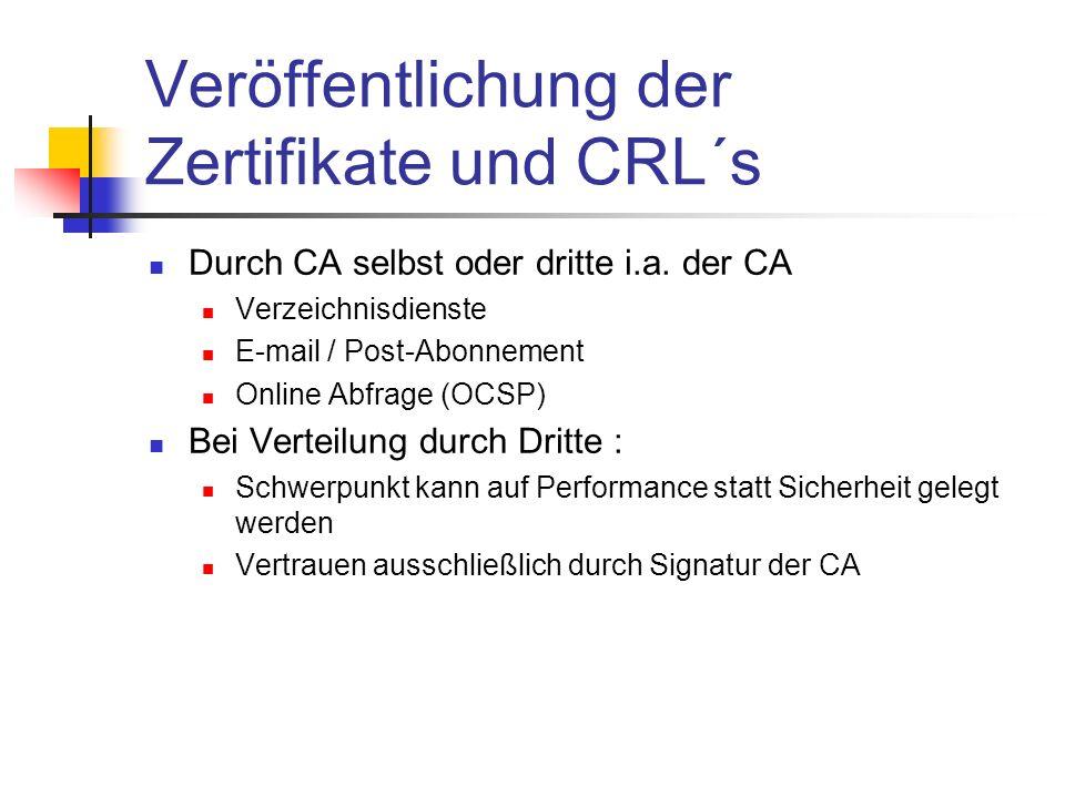 Veröffentlichung der Zertifikate und CRL´s Durch CA selbst oder dritte i.a. der CA Verzeichnisdienste E-mail / Post-Abonnement Online Abfrage (OCSP) B