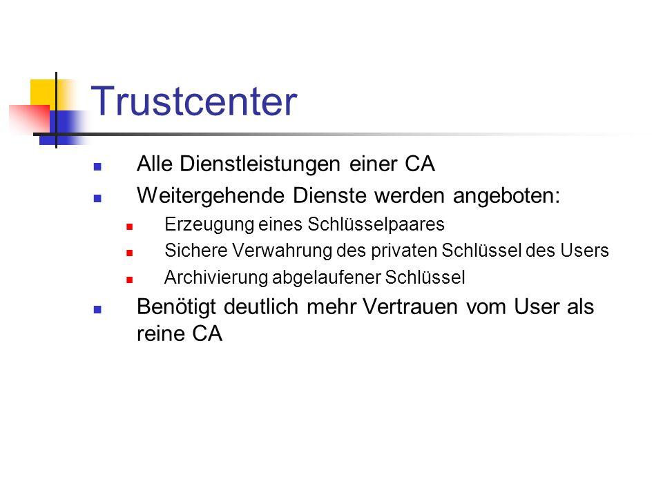 Trustcenter Alle Dienstleistungen einer CA Weitergehende Dienste werden angeboten: Erzeugung eines Schlüsselpaares Sichere Verwahrung des privaten Sch