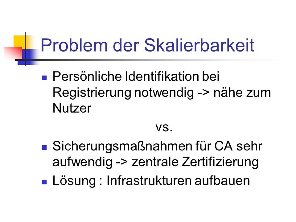 Problem der Skalierbarkeit Persönliche Identifikation bei Registrierung notwendig -> nähe zum Nutzer vs. Sicherungsmaßnahmen für CA sehr aufwendig ->
