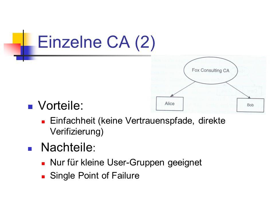 Einzelne CA (2) Vorteile: Einfachheit (keine Vertrauenspfade, direkte Verifizierung) Nachteile : Nur für kleine User-Gruppen geeignet Single Point of
