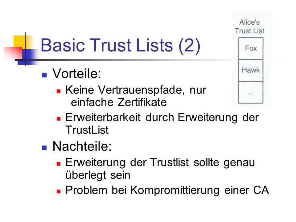 Basic Trust Lists (2) Vorteile: Keine Vertrauenspfade, nur einfache Zertifikate Erweiterbarkeit durch Erweiterung der TrustList Nachteile: Erweiterung