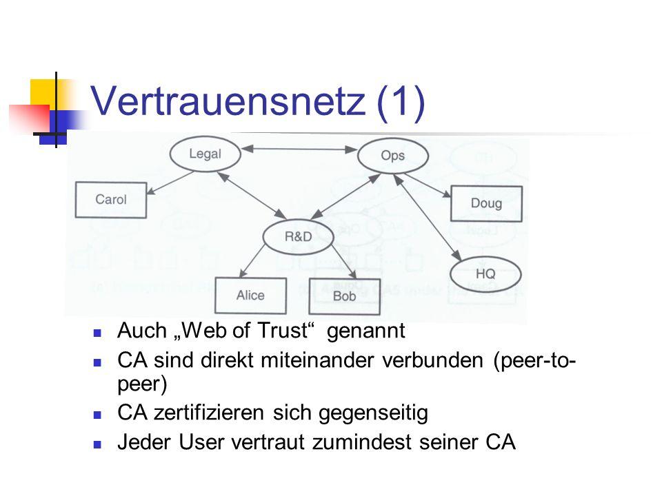 Vertrauensnetz (1) Auch Web of Trust genannt CA sind direkt miteinander verbunden (peer-to- peer) CA zertifizieren sich gegenseitig Jeder User vertrau