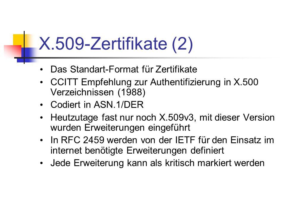 X.509-Zertifikate (2) Das Standart-Format für Zertifikate CCITT Empfehlung zur Authentifizierung in X.500 Verzeichnissen (1988) Codiert in ASN.1/DER H