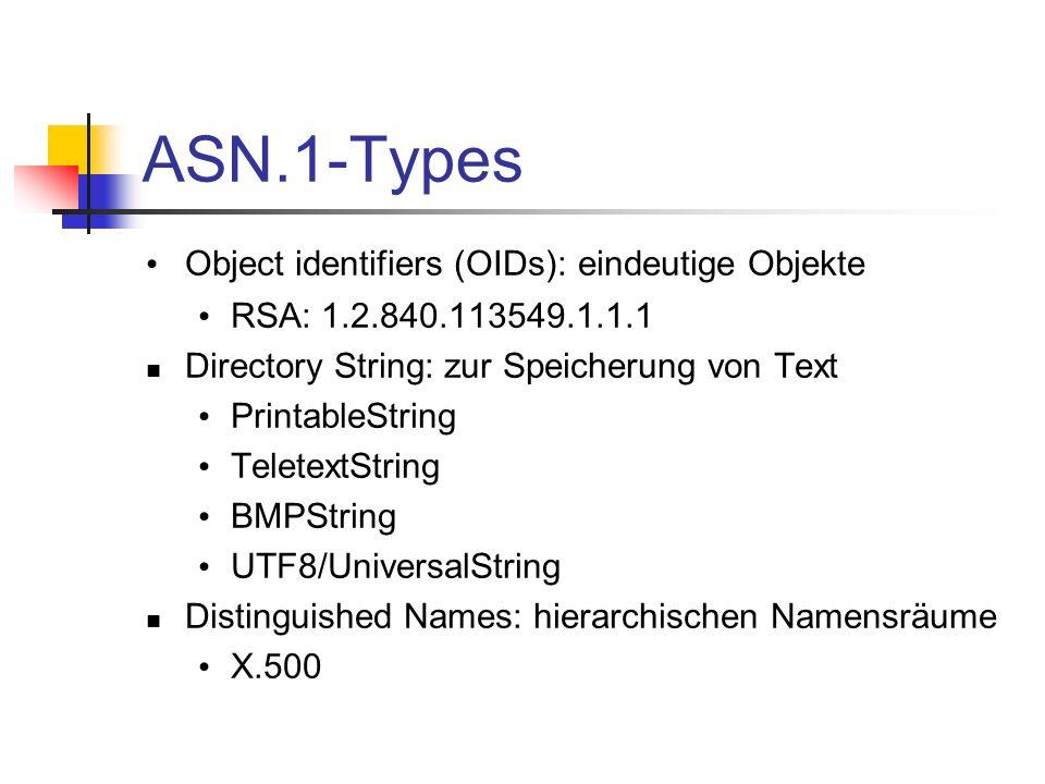 ASN.1-Types Object identifiers (OIDs): eindeutige Objekte RSA: 1.2.840.113549.1.1.1 Directory String: zur Speicherung von Text PrintableString Teletex