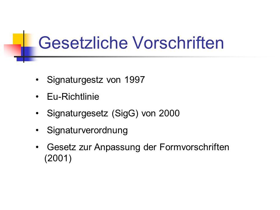 Gesetzliche Vorschriften Signaturgestz von 1997 Eu-Richtlinie Signaturgesetz (SigG) von 2000 Signaturverordnung Gesetz zur Anpassung der Formvorschrif