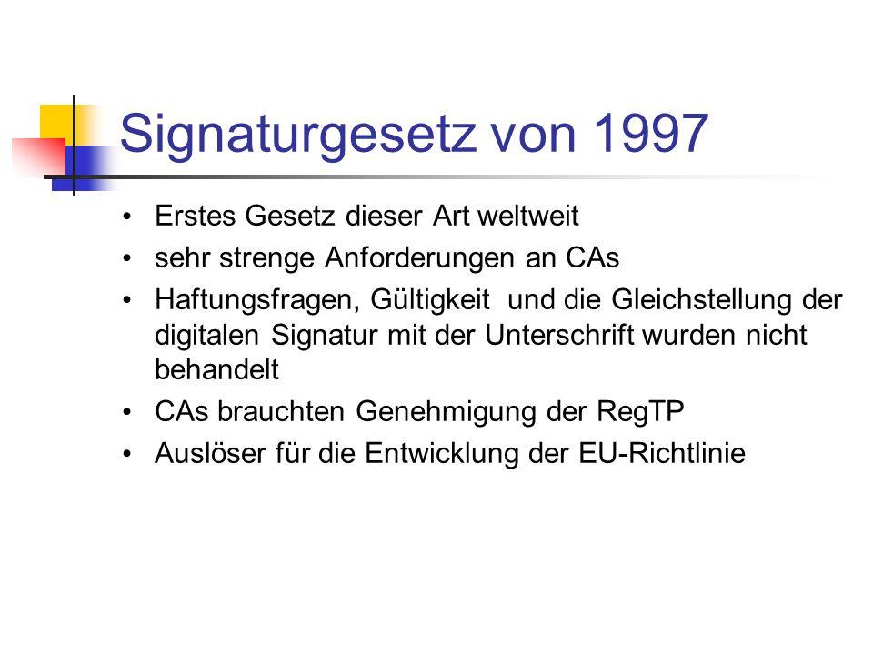 Signaturgesetz von 1997 Erstes Gesetz dieser Art weltweit sehr strenge Anforderungen an CAs Haftungsfragen, Gültigkeit und die Gleichstellung der digi