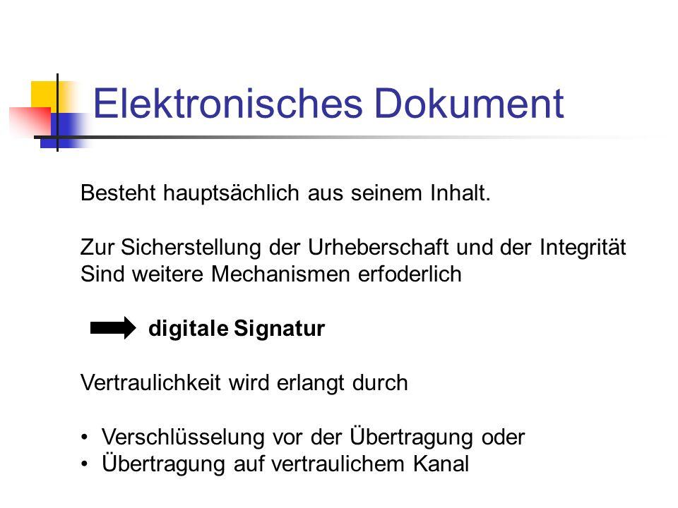 Elektronisches Dokument Besteht hauptsächlich aus seinem Inhalt. Zur Sicherstellung der Urheberschaft und der Integrität Sind weitere Mechanismen erfo
