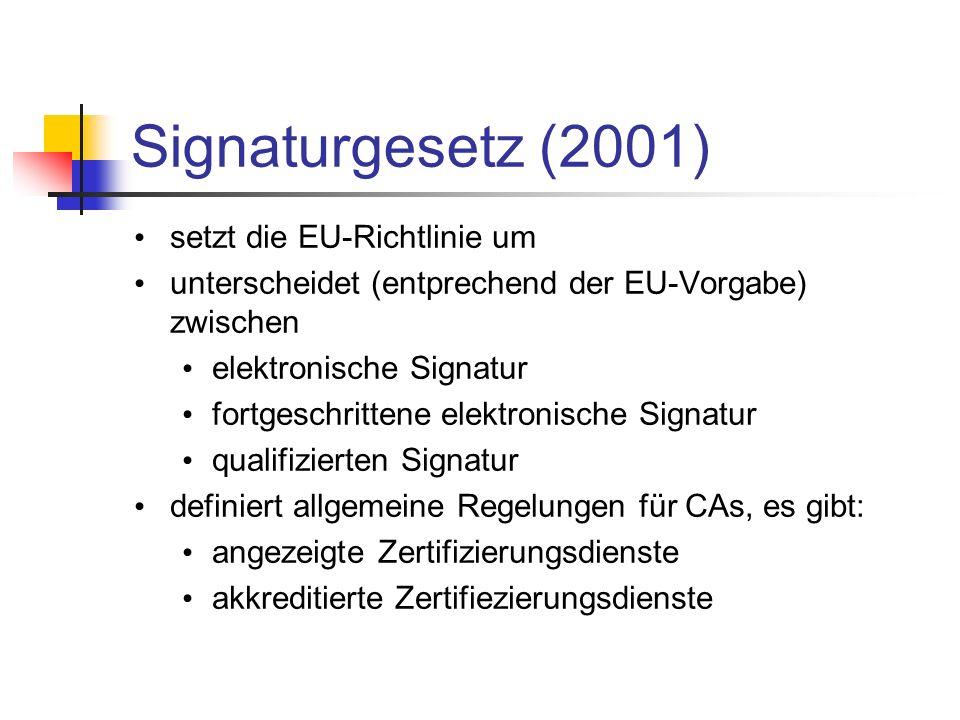 Signaturgesetz (2001) setzt die EU-Richtlinie um unterscheidet (entprechend der EU-Vorgabe) zwischen elektronische Signatur fortgeschrittene elektroni